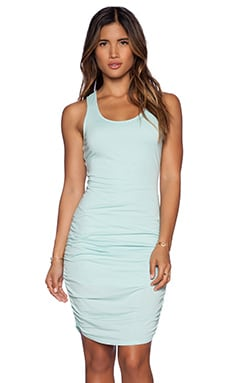 Bobi Modal Jersey Ruched Dress in Bubble Blue