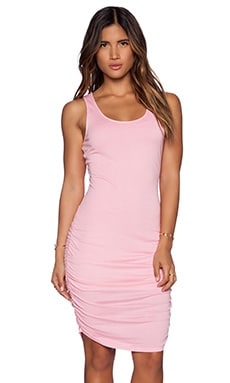 Bobi Modal Jersey Ruched Dress in Bunny Pink