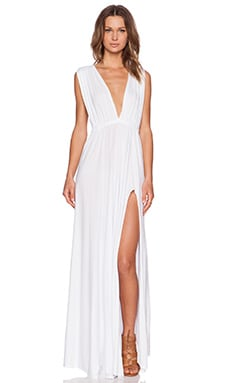 Bobi Modal Jersey Plunge Neck Maxi Dress in White