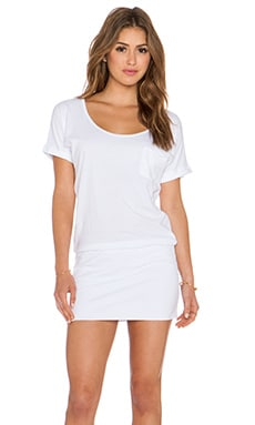 Bobi Supreme Jersey Short Sleeve Dress in White