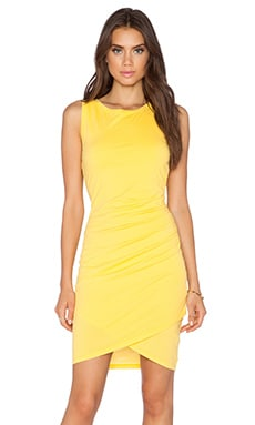 Bobi Supreme Jersey Ruched Mini Dress in Sunburst