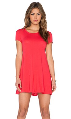 Bobi Light Weight Jersey Short Sleeve Dress in Light Raspberry