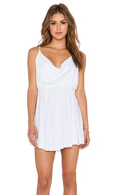 Bobi Modal Jersey Drape Front Dress in White