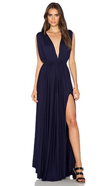 Bobi Modal Jersey Plunge Neck Maxi Dress in Yacht