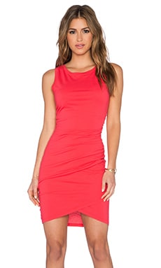 Bobi Supreme Jersey Ruched Mini Dress in Light Raspberry