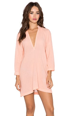 Gauze V Neck Tunic Dress in Peachy