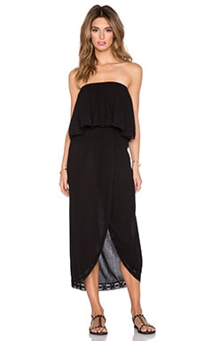 Bobi Gauze Strapless Maxi Dress in Black
