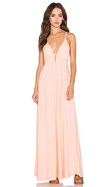 Bobi Supreme Jersey Halter Maxi Dress in Peachy