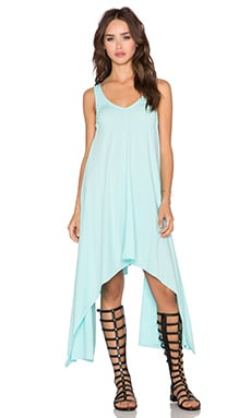 Bobi Pima Cotton Asymmetric Dress in Blu Beach