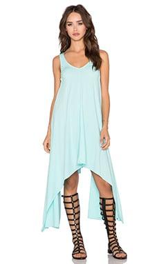 Bobi Pima Cotton Asymmetric Dress in Blu Beach
