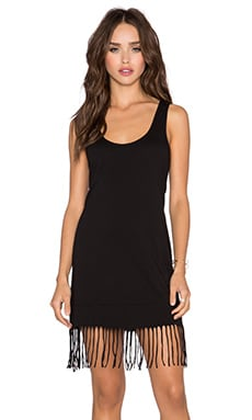 Bobi Pima Cotton Fringe Tank Dress in Black