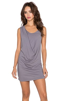Bobi Light Weight Jersey Drape Dress in Pavement