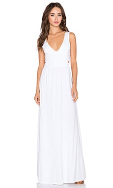 Bobi Supreme Jersey Cut Out Maxi Dress in White