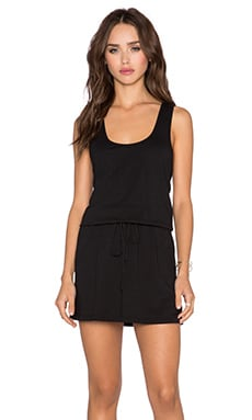 Bobi Supreme Jersey Cinch Waist Dress in Black