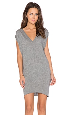 Bobi Light Weight Jersey Dolman Dress in Thunder