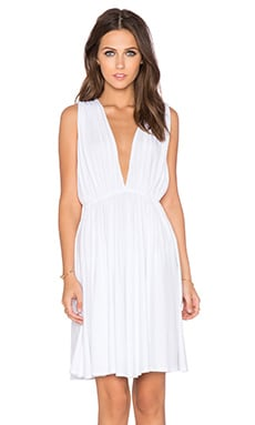 Bobi Modal Jersey Plunge Neck Dress in White