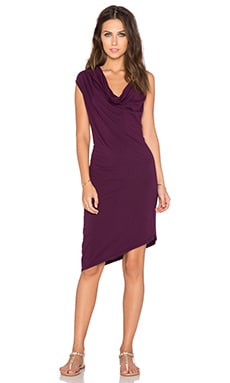 Bobi Modal Jersey Drapey Dress in Licorice