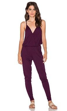 Bobi Modal Jersey Wrap Front Jumpsuit in Licorice