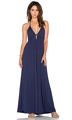 Bobi Supreme Jersey Halter Maxi Dress in Nautical