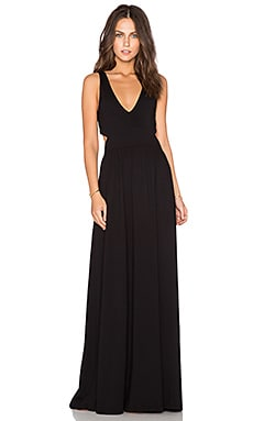Bobi Supreme Jersey Cut Out Maxi Dress in Black