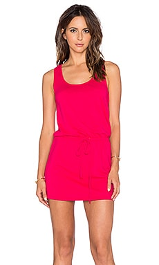 Bobi Supreme Jersey Cinch Waist Dress in Strawberry