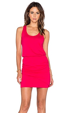 Bobi Light Weight Jersey Ruched Tank Dress in Strawberry