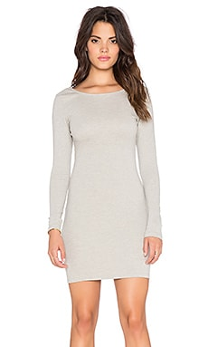 Bobi Athletic Scuba Scoop Back Mini Dress in Light Grey