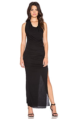 Bobi Tissue Jersey Draped Asymmetrical Maxi Dress in Black