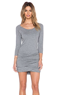 Bobi Light Weight Jersey Raglan Dress in Thunder