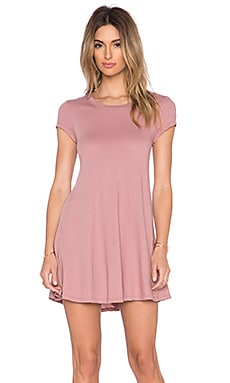 Bobi Light Weight Jersey Tee Dress in Light Rose