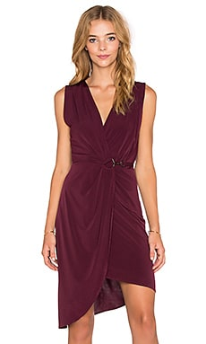 Bobi BLACK Liquid Jersey Wrap Asymmetrical Dress in Eggplant