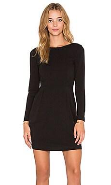 Bobi BLACK Knit Boucle Long Sleeve Mini Dress in Black