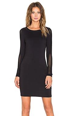 Bobi Heavy Spandex Midi Dress in Black