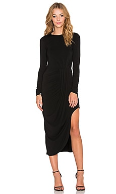 Bobi Jersey Layered Asymmetrical Dress in Black