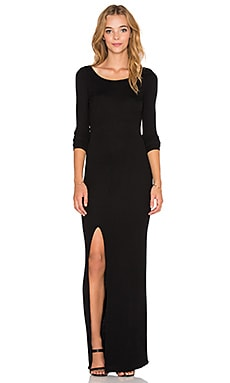 Bobi Cozy Spandex High Slit Maxi Dress in Black