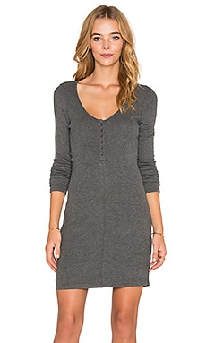 Bobi Cozy Spandex Henley Mini Dress in Thunder