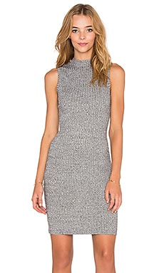 Bobi Heathered Rib Sleeveless Turtleneck Dress in White
