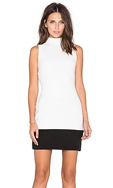 Bobi BLACK Quilted Knit Turtleneck Mini Dress in White