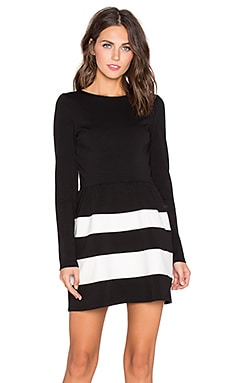 Bobi BLACK Mixed Knit Long Sleeve Flare Dress in Black & White