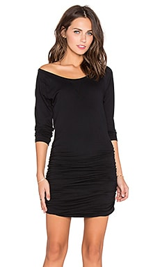 Bobi Light Weight Jersey Raglan Dress in Black