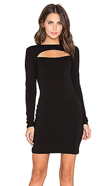 Bobi Jersey Cut Out Long Sleeve Midi Dress in Black