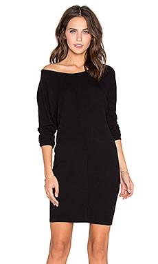 Bobi Cozy Spandex 3/4 Sleeve Mini Dress in Black
