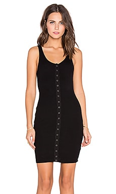 Bobi Cozy Spandex Button Front Mini Dress in Black