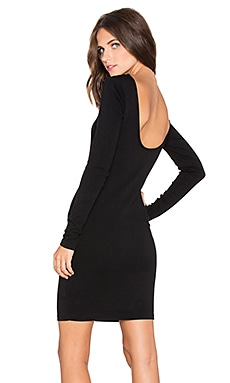 Bobi Athletic Scuba Scoop Back Mini Dress in Black