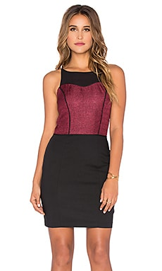 Bobi BLACK Sateen Knit Dress in Red & Black