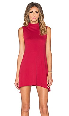 Bobi Light Weight Jersey Turtleneck Tank Dress in Roses