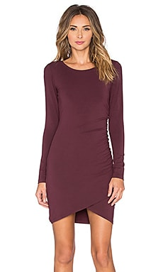 Jersey Ruched Dress in Malbec