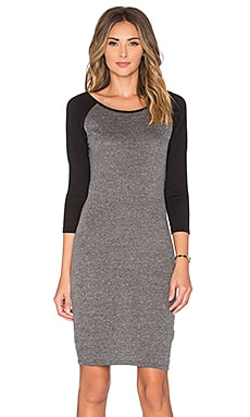 Bobi Alternative Jersey Baseball Mini Dress in Light Grey & Black