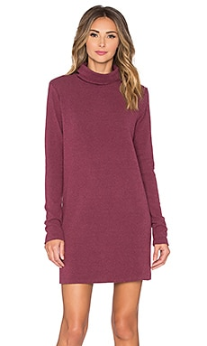 Bobi Cuddly Knit Turtleneck Mini Dress in Wine