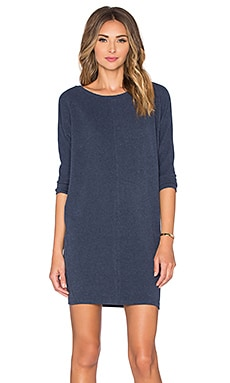 Bobi Cuddly Knit Dolman Mini Dress in Navy